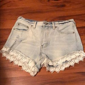 Free People White Lace Denim Shorts